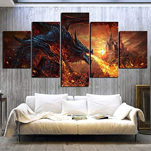 B&MF 5 Rooms Fantasy Art Paintings of Fire Dragon Poster World of Warcraft Game Shows Photos of Canvas Wall Art Paintings for House Decoration,A,L