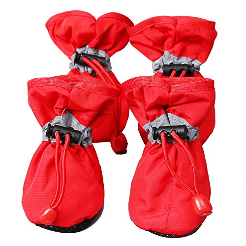 ROTANET Dog Shoes Pet Boots 4PCS Indoor Outdoor Adjustable Fastening Straps Drawstring Anti-Slip Rubber Sole Nonslip Reflective Breathable Washable Lightweight Protective Winter Large L Red