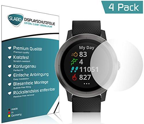 Slabo 4 x Displayschutzfolie für Garmin Vivoactive 3 GPS Displayschutz Schutzfolie Folie Crystal Clear KLAR