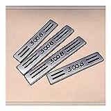 Travesaño de la puerta del coche de pedales, placas Kick antideslizante anti-rayaduras Protección banda de acero inoxidable Car Styling Umbral de Protección de ajuste de la cubierta 4 PCS for Peugeot