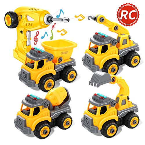 Take Apart Toys Remote Control Construction Truck for Boys, RC Car STEM Toy with Electric Drill for Toddlers