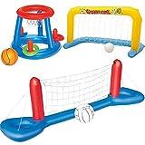 WXH Jeu de Volley-Ball de Piscine Gonflable, Ballon de Handball Flottant pour Piscine, Maillage en Nylon de Haute qualité et épaisses Jouets de Sports Nautiques d'été en PVC (avec Trois balles)