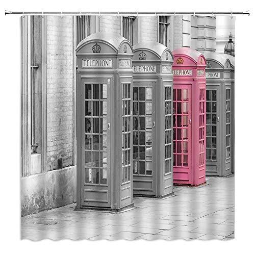 London Duschvorhang, rosa Handyzelle, Retro-Stil, romantisches britisches Stadtbild, modernes schwarz-weißes Kunstdruck, Stoff, Badezimmer-Dekoration, Haken inklusive, 180 x 180 cm, Rosa / Grau