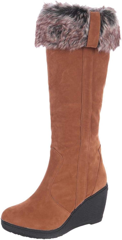 Lelehwhge Women's Wedge High Heel Long Boots Brown 6.5 M US