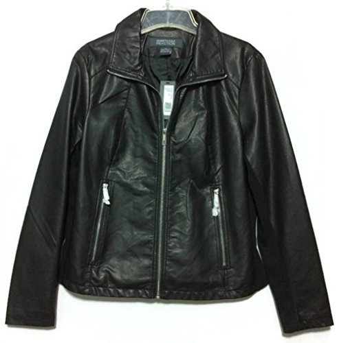 Kenneth Cole Reaction Faux Leather Designer Jacket, Black L