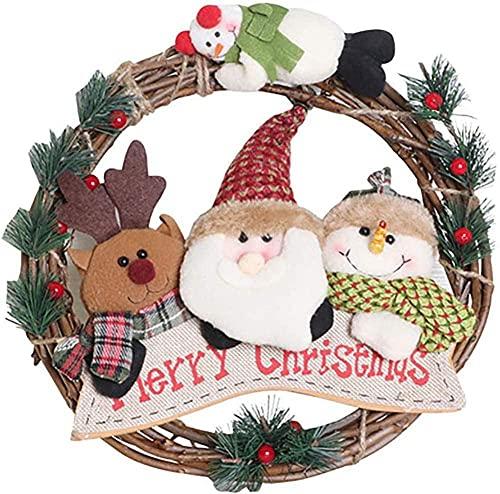 Outdoor Weihnachtskränze für Haustür - Sackleinen Kranz Rattan Kreis Circle Country House in - Thanksgiving Tür zu Peng (Farbe: a)