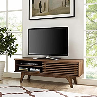Modway Render Mid-Century Modern Low Profile 48 Inch TV Stand in Walnut