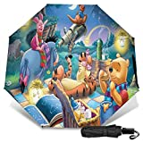 Paraguas Compacto Anti-Ultravioleta De Viaje Plegable Manual De Apertura/Cierre, Sombrilla Plegable Ligera para Exteriores A Prueba De Viento, Telescopio Disney Winnie Pooh Eeyore