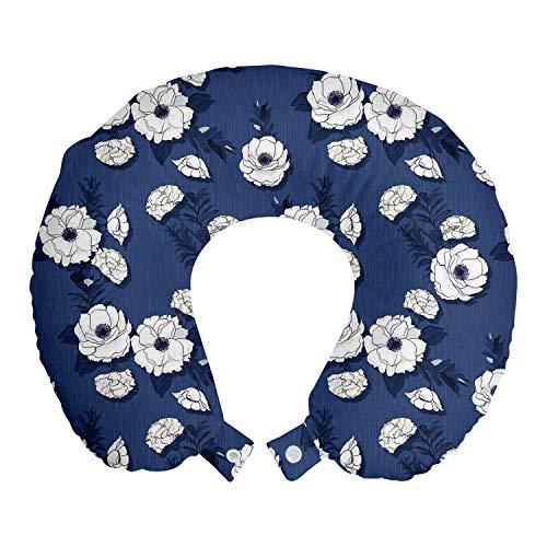 ABAKUHAUS Blumen Reisekissen Nackenstütze, Blooming Nelke Blumen-Kunst, Schaumstoff Reiseartikel für Flugzeug und Auto, 30x30 cm, Nacht-Blau-Creme