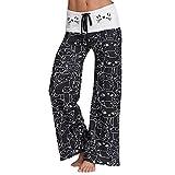 Pantalone Largo Donna Estivo Baggy Hip Hop Harem Danza Trousers Leggins Stampa Gatto Casuale Lungo Pantaloni Dritti con Coulisse Vita Alta per Yoga Jogging Palestra Sportivi Pigiama Wide Leg Pants