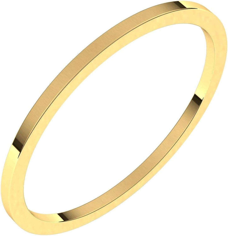 Diamond2Deal 14K Yellow Gold 1 mm Flat Wedding Band Ring for Women