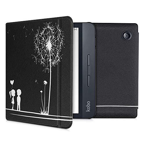 kwmobile hoes compatibel met Kobo Libra H2O – Case voor e-reader in wit/zwart – Paardenbloemen Liefde