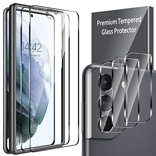LK Compatible con Samsung Galaxy S21 Protector de Pantalla,2 Pack Cristal Templado y 3 Pack Protector de Lente de cámara, Doble protección, Kit de Instalación Incluido