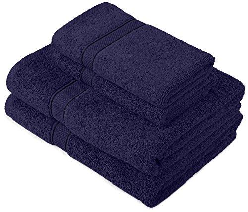 Pinzon by Amazon - Juego de toallas de algodón egipcio (2 toallas de baño y 2 toallas de manos), color azul marino