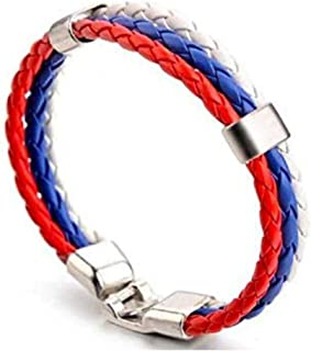 Weaving National Flag Color Leather Bracelet Pu Imitation Leather Bracelet World Cup National Bracelet