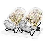 Robasiom Germinador Kit de Tarros de Germinación de semillas de vidrio con 2 tarros de conservación (32oz), tapas de tarros de brotes, soportes y bandeja de goteo para la germinación de semillas