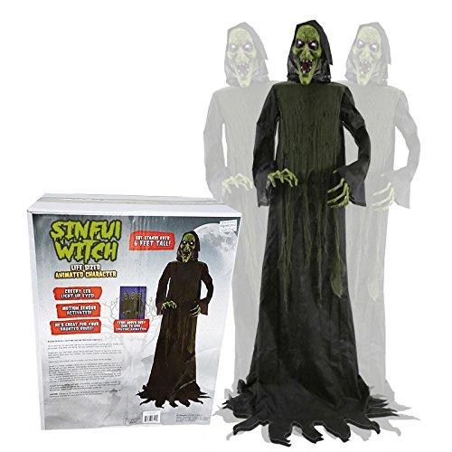 SV Animatronic sündige Hexe lebensgroßer Horror Dämon Halloween Puppe Blocksberg Monster