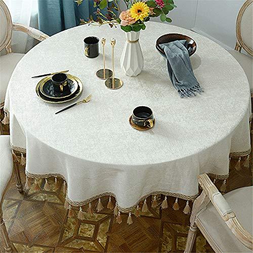 DHHY Chenille Runde Tischdecke Reine Farbe Quaste Runde Staubdicht Couchtischdecke Wohnkultur...