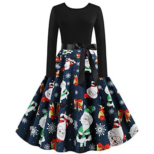 ReooLy Vintage-Langarm-Weihnachtsdruck-Kleid-Bogen-Gurt 1950 Housewife Partei-Abschlussball-Kleid-Frauen(Marine,Medium)