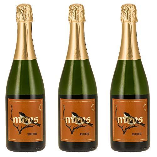Weingut Mees SCHEUREBE SEKT B.A. NAHE MILD DOUX LIEBLICH SÜSS Klassische Flaschengärung süß Nahe Deutschland Sektpaket (3 x 750 ml) 100% Scheurebe