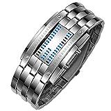 Evansamp Armbanduhr für Damen, LED, neutral, Edelstahl, sportliche Fitness, analoge Digitale...