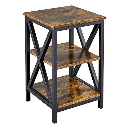Yaheetech Nachttisch, Beistelltisch mit 3 Holzablagen, Wohnzimmer, Schlafzimmer, einfacher Aufbau, stabiles X-Form, Industrie-Design, Vintage, Dunkelbraun