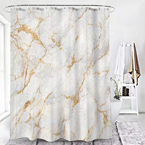 BATTOO Bad-Marmor Badezimmer Duschvorhang, Gold & Grau, eleganter Pongee Stoff Duschvorhang mit 12 Haken, dekoratives Badezimmerzubehör, wasserdicht, 180 x 180 cm
