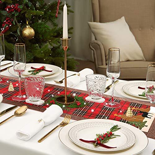 Camino de mesa de algodón y lino con diseño de búfalo rojo tintado y serigrafiado para decoración de mesa familiar de 35.6 x 183 cm