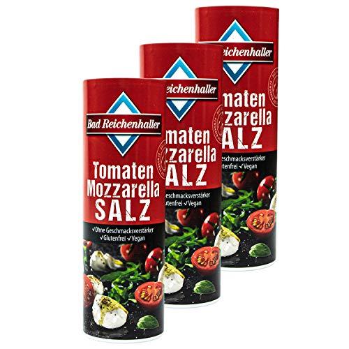 Bad Reichenhaller - 3er Pack Tomaten Mozzarella Salz 300 g (mit Alpen Jodsalz) - Kräutersalz Tomatensalz mit mediterranen Kräutern wie Basilikum, Oregano und Thymian (Typsich Italienisch)