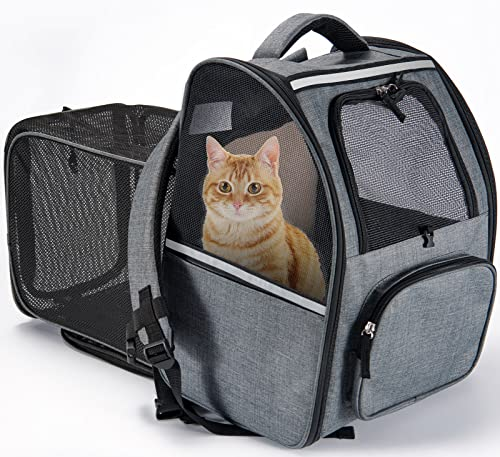 CATROMANCE Pet Backpack Carrier, Expandable Cat Backpack for Small Dogs,...