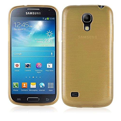 Cadorabo Hülle für Samsung Galaxy S4 Mini - Hülle in Gold – Handyhülle aus TPU Silikon in gebürsteter Edelstahloptik (Brushed) Silikonhülle Schutzhülle Soft Back Cover Case Bumper