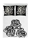 Devota & Lomba Rosas Colcha Bouti, Blanco/Negro, Cama 135 (240 x 260 cm)