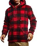 Leif Nelson LN20110 - Sudadera con capucha para hombre, manga larga rojo/negro L