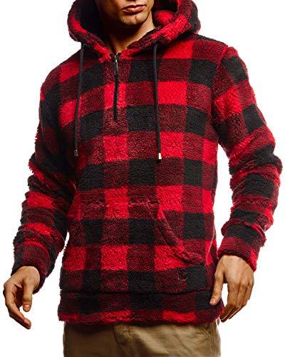 Leif Nelson Herren Hoodie Teddy Fleece Pullover mit Kapuze Kapuzenpullover für Männer Pulli Longsleeve Sweatshirt LN20110 Größe XXL Schwarz-Rot