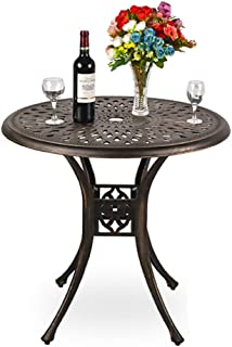 USSerenaY 31 Cast Aluminum Patio Bistro Round Dining Table with Umbrella Hole Conversation Outdoor Table for Garden Pool Side Deck