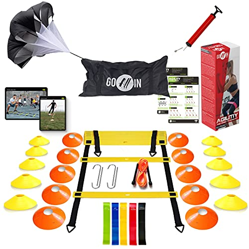 goalin Speed & Agility Training Set - Set of Premium Agility Ladder, 20 Disc Cones, Running Parachute, Jump Rope, Resistance Bands, Drill Manual - Football, Soccer, Basketball, Training Athletes