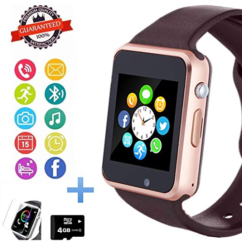 Image of Hocent Smart Watch Phone, Smartwatch with Touch Screen Camera Pedometer SD Card Call Text SNS Sync SIM Card Slot Music Player Compatible with Android and iPhone (Partial Functions) for Men Women Teens: Bestviewsreviews