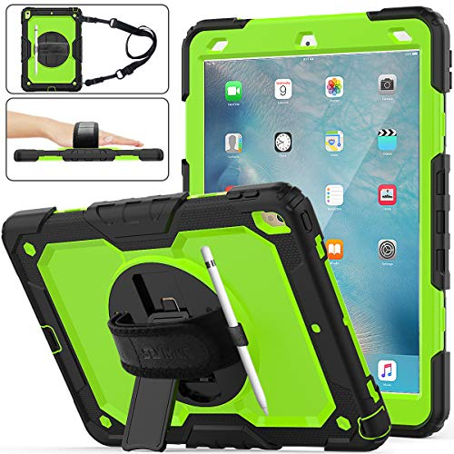 iPad Air 3 Case 2019, SEYMAC Stock [Full-Body] Drop Proof &Shockproof Hybrid Armor Case with 360 Rotating Stand [Pencil Holder] Hand Strap for iPad Air 3 10.5' 2019/iPad Pro 10.5' 2017(Green+Black)