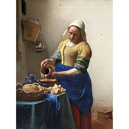 Vermeer De Melkmeisje Vrouw Keuken Schilderij Ingelijste Muur Kunst Print 18X24 In