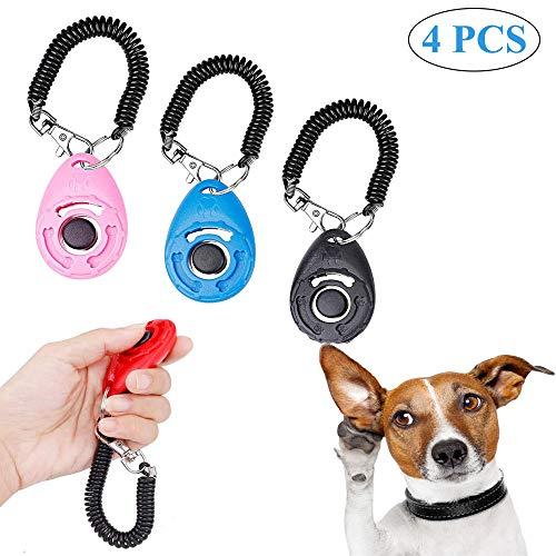 Ritte Clicker para Adiestramiento Perro, 4 Piezas Clicker para Perros, Clicker de Entrenamiento Profesional ABS con Brazalete En Espiral para Perros, Gatos, Caballos (4 Colores)