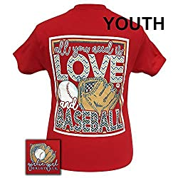Girlie Girls All You Need is Love and Baseball Short Sleeve T-Shirt - YOUTH