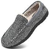 KuaiLu Zapatillas de Estar En Casa Hombre Invierno Cálido Forro de Felpa Zapatillas de Moccasin Espuma de Memoria de al...