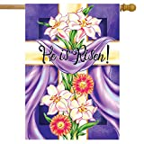 Wamika Easter Cross He is Risen House Flag 28 x 40 Double Sided, Easter Lilies Spring Flower Garden Yard Flags Welcome Outdoor Indoor Banner for Party Holiday Home Decorations