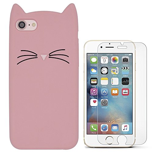 Hcheg 3D Silicone Protective Case Cover for Apple iPhone 7/8 Cover cat Design pink Case Cover + 1X Screen Protector