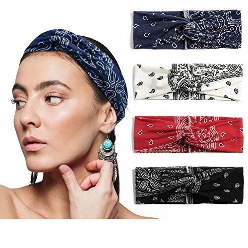 Alyphiin Haarband Damen 4 Stück Herbst Winter Boho Stirnband Damen Elastisches Knoten Dehnbares Baumwolle Haarbänder Mädchen Blumen Sport Headband