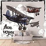 Papier Peint 3D Poster Poster Géant 3D Salon Chambre Télévision Fond Mur Décoration De La Maison,Avion rétro