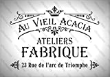 cfsupplies 142 Grand pochoir A3 Style shabby chic français Épaisseur 190microns