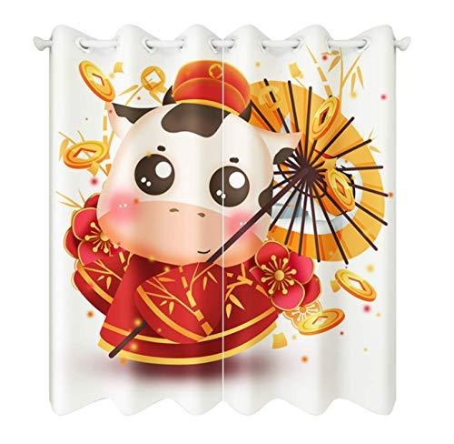 Cartoon New Year Small Cattle Pattern Blackout Short Curtains Fabrics Christmas Decor Roman Rod Curtain For Living Room 140X160Cm