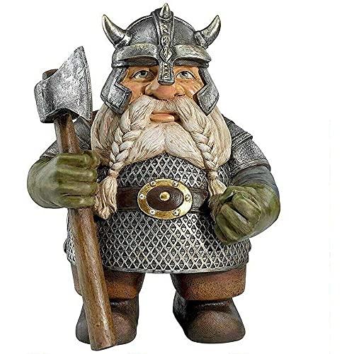 Kasituoer Viking Victor Norse Zwerg Gnom Statue - Gnom Skulptur mit Axt - Outdoor GNOME Figuren Vollfarbige Dekoration (A)