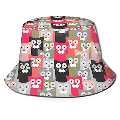 136 Funny Cats - Sombrero unisex para viajes al aire